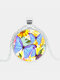 Vintage Glass Printed Women Necklace Butterflies Flowers Pendant Sweater Chain Jewelry Gift - Silver