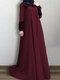 الصلبة اللون الدانتيل المرقعة فستان مسلم سوينغ كبيرة للنساء - نبيذ أحمر