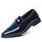 Large Size Men Leather Splicing Slip On Formal Dress Shoes - Blue