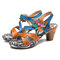 SOCOFY Sooo Comfy Retro Veins Genuine Leather Floral Hook Loop Sandals