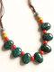 Vintage Ethnic Drop Round Shaped Beaded Braided Ceramics Velvet Rope Long Sweater Necklace - #01