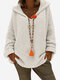 Woven Loose V Neck Hooded Sweater