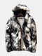 Mens Winter Faux Fur Fleece Lined Thickened Warm Hooded Casual Zipper Jacket - As Picture