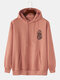 Mens National Style Lion Print Pullover Hoodie With Kangaroo Pocket - Pink