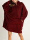 Women Bedsure Cozy Oversized Wearable Blanket Hoodie Warm Double Plush Robe With Large Front Pocket - Wine Red