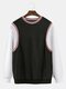Mens Cotton Patchwork Casual Loose Crew Neck Sweatshirts With Contrast Ribbed Trims - Black