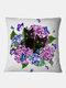 Gatti neri e fiori Modello Fodera per cuscino in lino Divano per la casa Art Decor Federa da tiro - #01