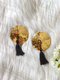 Women Round Shape Sequins Sexy Tassel Silicone Nipples - Gold