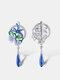 Zircon Enamel Women Jewelry Set Epoxy Flower Dragonfly Pendant Engagement Earrings Necklace Ring - #01