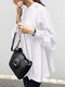 Solid Color Puff Sleeve Stand Collar Blouse - White