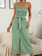 Polka Dot Print Tie-up Waist Button Front Tube Jumpsuit - Green