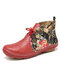 LOSTISY Flowers Pattern Splicing Solid Color Round Toe Comfy Lace-up Flat Ankle Boots - Red