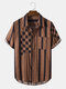 Mens Stripe & Check Lapel Cotton Casual Short Sleeve Shirts With Pocket - Coffee