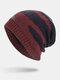 मेन विंटर Plus वेलवेट स्ट्राइप्ड पैटर्न आउटडोर लंबे बुना हुआ गर्म बेनी टोपी - लाल शराब