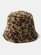 Women & Men Felt Leopard Pattern Casual Soft All-match Outdoor Travel Bucket Hat - Green