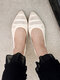 Women Casual Pointed Toe Shallow Breathable Knitted Flats - Beige