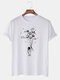 Mens Planet Astronaut Printed Cotton Round Neck Casual Short Sleeve T-Shirts - White