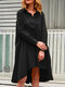 Casual Solid Color A-Line Pockets Loose Pleated Dress - Black