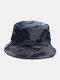 Unisex Washed Denim Solid Color Ripped Hole Fashion Sunshade Bucket Hat - Dark Blue