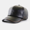 Autumn And Winter PU Leather Hat With Velvet Warmth Men's Outdoor Baseball Cap Fashion All-Match Cap - Black