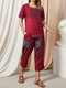 Plaid Print O-Neck T-Shirt Pocket Elastic Waist Cropped Pants Casual Suit - Red