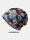 Women Dual-use Cotton Overlay Ethnic Calico Printed Elastic Casual Breathable Scarf Beanie Hat - Black