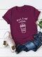 Casual Letter Print Solid Color Rolled Sleeve Plus Size T-shirt - Wine Red
