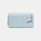 Women PU Leather Ethnic Multi-card Slots Photo Card Phone Bag Money Clip Wallet Coin Purse - Blue