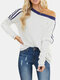 Contrast Color Loose Long Sleeve O-neck Casual T-shirt - White