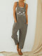 Straps Butterflies Flower Print Casual Jumpsuit For Women - Grey