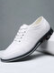 Men Plaid Leather Lace Up Business Casual Shoes - White
