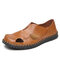 Mens Closed Toe Slip On Loafers Hand Stitching Hole Leather Sandals - Brown