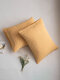 2Pcs AB Sided Striped Seersucker Pattern Plain Color Comfy Bedding Pillowcase - Yellow