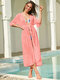 Women Solid Color Thin Chiffon Sun Protection Cover Up - Pink
