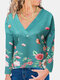 Floral Print V-neck Long Sleeves Casual Sweatshirt For Women - Green