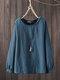Vintage Solid Color Bubble Sleeve Plus Size Blouse - Blue