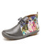 LOSTISY Flowers Pattern Splicing Solid Color Round Toe Comfy Lace-up Flat Ankle Boots - Grey