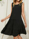 Solid O-neck Sleeveless Patchwork Casual Dress for Women - Black