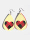 Vintage Drop-Shape Hollow Plaid Pattern Valentine's Day Heart PU Leather Earrings - #06