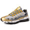 Men Sports Fabric Mesh Comfy Breathable Casual Chunky Sneakers - Gold