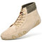 Men Breathable Soft Lace Up Leather Sock Ankle Boots - Khaki