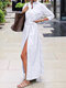 Solid Color Side Slit Casual Long Sleeve Shirt Dress - White