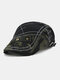 Men Cotton Patchwork Camouflage Pattern Metal Buckle Cloth Stickers Casual Berets - Black