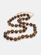 Ethnic Semi-precious Stone Beaded Adjustable Thick Round Bead Necklace - #06