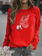 Butterfly Printed Long Sleeve O-neck T-shirt For Women - Red