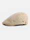 Men British Style Street Trend Solid Color Outdoor Casual Retro Forward Hat Flat Hat - Khaki