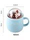 Lovely Cute Micro Landscape Ceramic Cup Creative Christmas Gift Ceramic Coffee Mug  - Blue