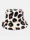 Women & Men Plush Soft Warm Casual All-match Cute Leopard Pattern Bucket Hat - Beige