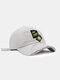 ユニセックスコットンブロークンホールレター漫画スマイルフェイス刺繡布ラベルオールマッチ日焼け止め野球帽 - 白い