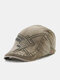 Men Cotton Letters Geometric Pattern Embroidery Casual Sunscreen Beret Flat Cap - Army Green